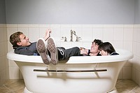 Friends in a bathtub