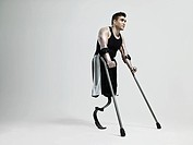 Man with crutches and prosthetic leg (thumbnail)