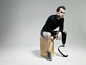Athlete with prosthetic leg