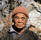 Portrait of a sherpa, man, wooly hat, Himalayas, Nepal, South Asia