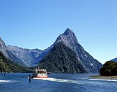 View of Mitre Peak, Milford Sound, tour boat, Fiordland National Park, South Island, New Zealand