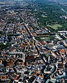Aerial picture, city centre, historic centre of Munich, Marienplatz Square, Cathedral, Frauenkirche Church, Leopoldstrasse street, Upper Bavaria, Germ...