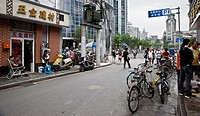 view of a street in downtown Shanghai, China