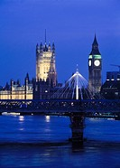 Hungerford Bridge and House of Parliament at Dusk