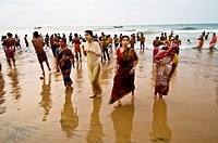 India,Orissa,Puri,purification in the sea Govinda Dwadashibuda dedicated to Gjagannath
