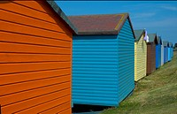Colourful painted beach huts in Tankerton