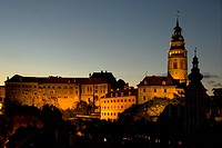 Castle, tower, night, Ceský Krumlov, UNESCO World Heritage Site, world cultural heritage, Czech Republic, Europe