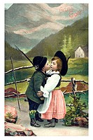 Historical Valentine's Day greetings card Gruess Gott, Bavarian children couple kissing