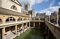 Roman Baths with Bath Abbey in background