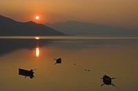 sunset at lake Kerkini, Greece, Macedonia, Kerkini_See