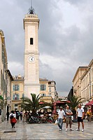 Square, tower, restaurant, people, Old Town of Nîmes, Nimes, Gard, Languedoc_Roussillon, France, Europe