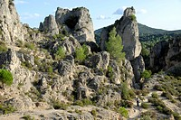 Rock formation, Cirque de Moureze, Moureze, Languedoc-Roussillon, France, Europe