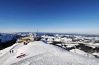 Ski hut and a restaurant on Mt Kronberg, Canton of Appenzell Innerrhoden, Switzerland, Europe