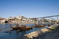 Port wine boats, at back the Ponte de Dom Luis I Bridge, Rua Diogo Leite, Rio Duoro River, Porto, UNESCO World Cultural Heritage Site, Portugal, Europ...