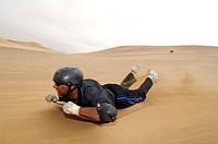 Dune-boarding, Swakopmund, Namibia, Africa