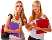 Two blond high school senior girls hanging out and holding text books