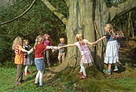 common beech Fagus sylvatica, children embracing and measuring an old thick beech tree