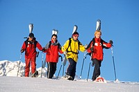 a group of skiers in deep snow, Austria, Alps