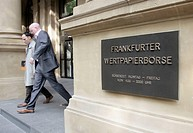 Main entrance of the Frankfurt stock exchange of the Deutsche Boerse AG, in Frankfurt/Main, Hesse, Germany, Europe