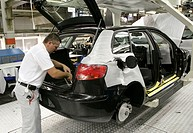 Worker in the production facility of the Audi AG in Brussels, production line of the Audi A3, Polo and Golf in Brussels, Belgium, Europe
