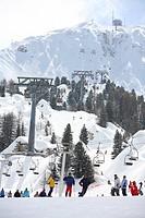 Winter sports village La Plagne. Snow on the Mountains of the French Alps. Tarentaise, Savoy, Savoie, Peisey, France.