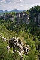 Landscape Bastei in Elbe Sandstone, Germany, National Park Saechsische Schweiz
