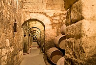 Wine casks in a wine cellar, Elciego, Spain