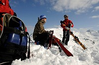 Ski hikers removing the skins, trek up Mount Joel and Mount Laempersberg, Wildschoenau, Tyrol, Austria, Europe