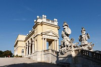Gloriette with trophies, antique-Roman suits of armour, in Schoenbrunner Park, Schoenbrunn Palace Park, Vienna, Austria, Europe