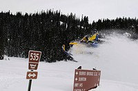 Snowmobile-action at Dunton Hot Springs, Colorado, USA