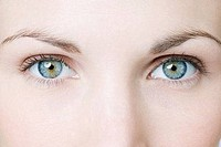 Blue eyes of a young woman