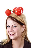 Woman with tomatoes on her head