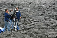 National Geographic IMAX camera team during production work in the Eastern Rift Zone, Kilauea Volcano, Kalapana, Big Island, Hawai'i, Hawaii, USA