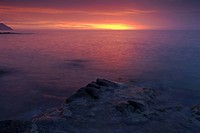 Sunrise over the mediterranean sea at Cabo de Gata National Park, Andalusia, Spain, Europe