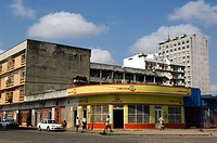 Corner shop with curved facade with art_deco influence, Mozambique, Beira