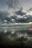 Clouds, beach near Lokken on the west coast of Denmark, Scandinavia, Europe