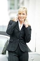 business woman outdoors talking on mobile