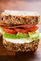 Avocado, tomato and bacon sandwich in wholemeal bread