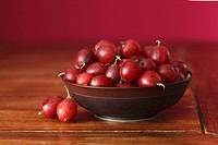 Red gooseberries in bowl