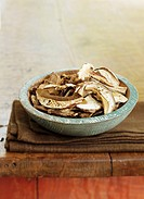 Bowl of Dried Sliced Portobello Mushrooms