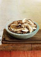Bowl of Dried Sliced Portobello Mushrooms