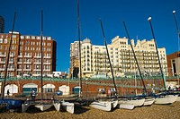 Sail boats on beach in Brighton England UK Europe