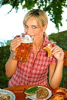 woman in beer garden