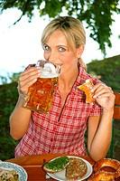woman in beer garden