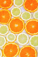 orange Citrus sinensis, orange slices and lemon slices