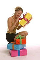 a party girl with gift boxes