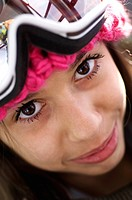 portrait of a young girl with skiing goggle, France