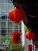 red Chinese lanterns with modern background in Chinatown, Singapore