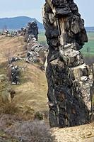 Cliffs named Teufelsmauer at Neinstedt, Germany, Saxony_Anhalt, Harz, Neinstedt