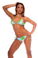 cute Afro_American model poses in a blue tone tropical pattern bikini